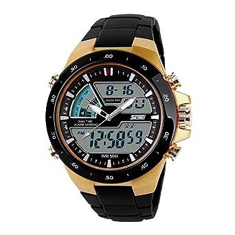 Reloj deportivo casual de hombre resistente al agua analógico y digital con zona de