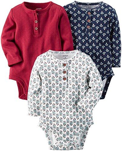 Carter's Baby Girls' Multi-PK Bodysuits 127g173, Red/Navy/White, 3 Months