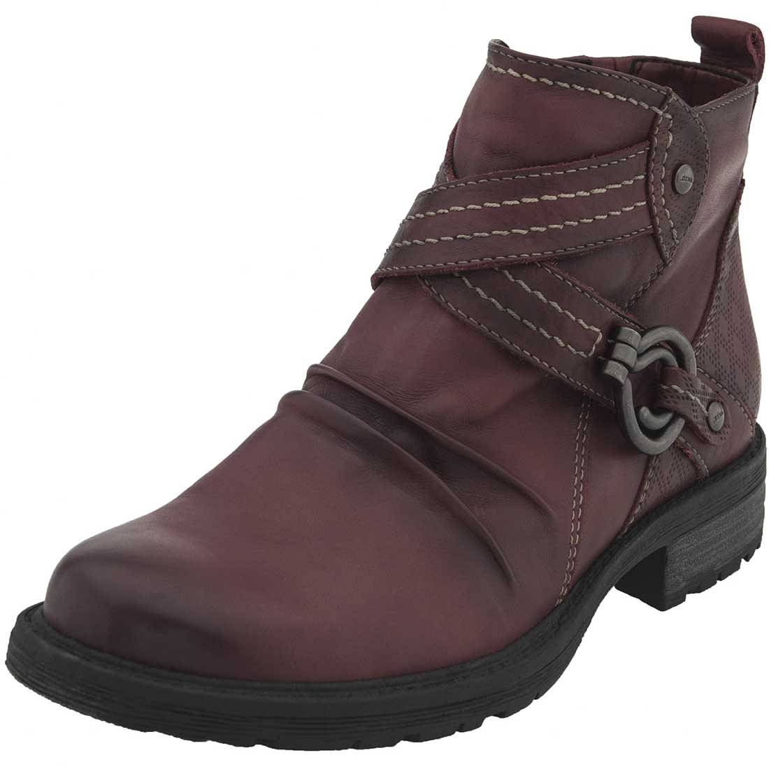 Earth Womens Laurel Leather Almond Toe Ankle Combat Boots B06X19LZQ6 8 B(M) US|Bordeaux Full Grain Leather