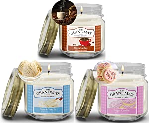 Fresh Coffee, French Vanilla and Sugar Cookie Scented Candles for Home Gift Set | Non Toxic Long Lasting Soy Candles | Delicious Scents | 8 oz Mason Jars | Hand Made in The USA