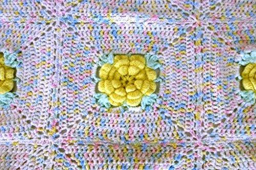 Afghan Handmade Crocheted 3D Roses Pastel Baby Crib Blanket (Crib Blanket Afghan)