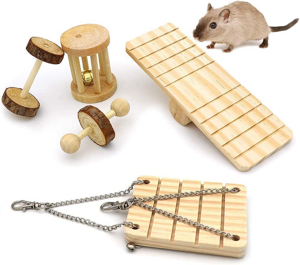 10 Pack Natural Wooden Pine Guinea Pigs Rats Chinchillas Toys Accessories Dumbells Exercise Bell Roller Tee NNuodekeU Hamster Chew Toys