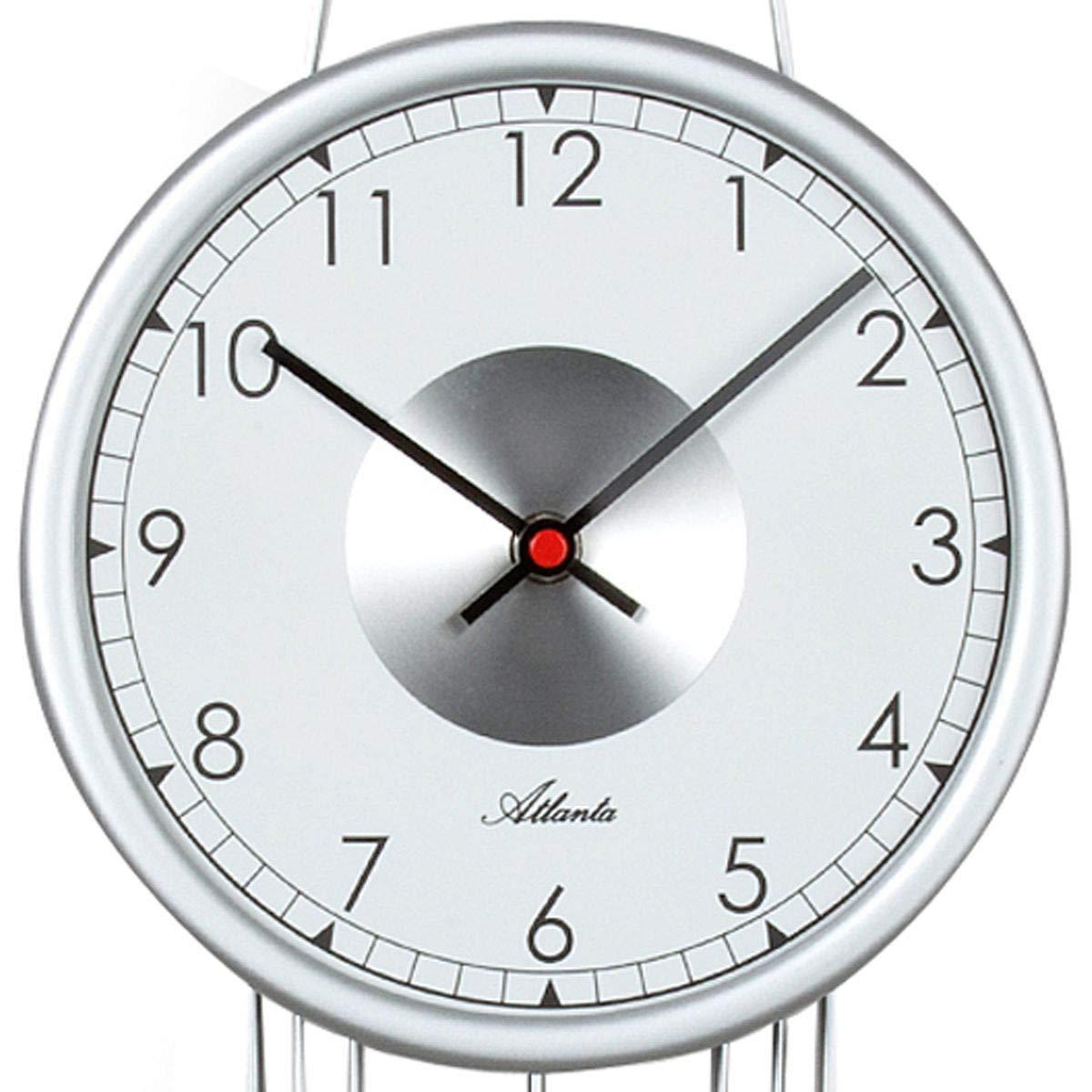CV Design Wanduhr mit Pendel silbern Pendeluhr Quarz analog modern Mineralglas 59 x 20 cm