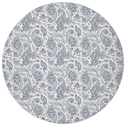 (K0k2t0 Round Rug Mat Carpet,Paisley Decor,Abstract Backgrounded Hand Drawn Pattern with Flowers Leaves and Buds,Black and White,Flannel Microfiber Non-Slip Soft Absorbent,for Kitchen Floor Bathroom)