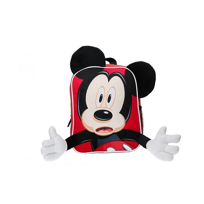Mochila niño con orejas y manos MICKEY MOUSE bolsa de ocio escolar rojo 3D VZ842: Amazon.es: Ropa y accesorios