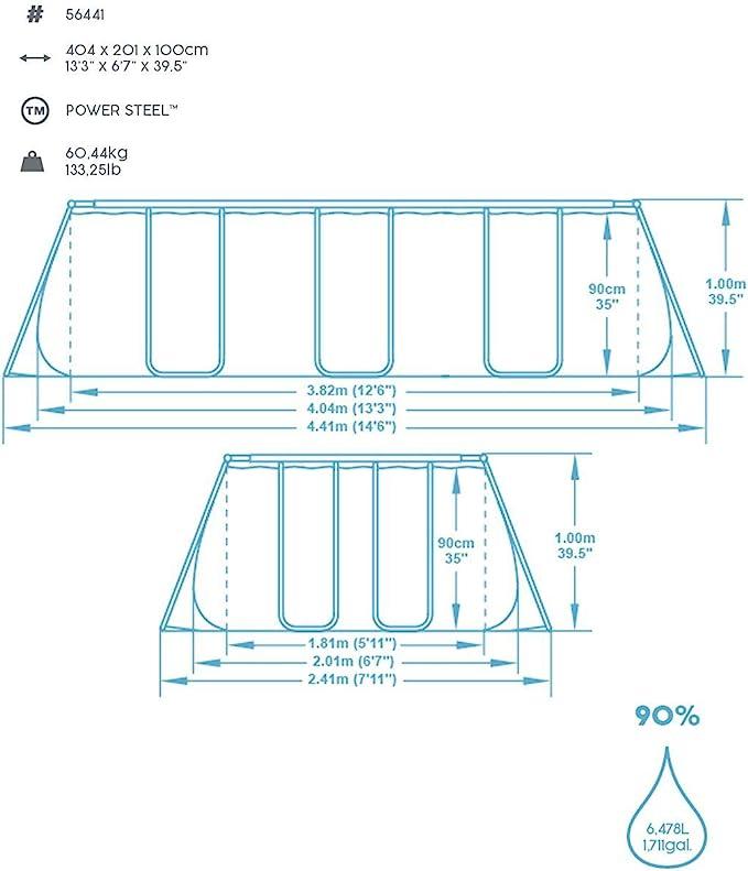 Piscina Desmontable Tubular Bestway Power Steel 404x201x100 cm ...