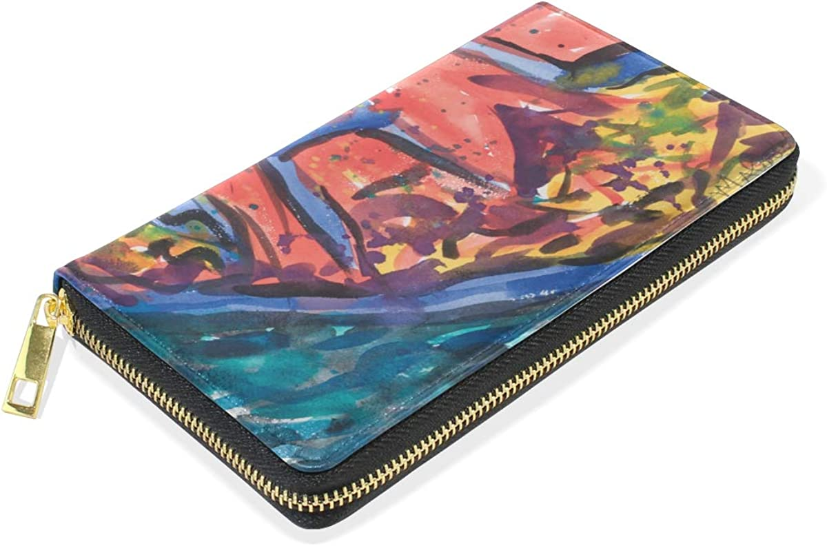 DEZIRO Abstract Painting Lady Purse Zip Around Credit Card Case