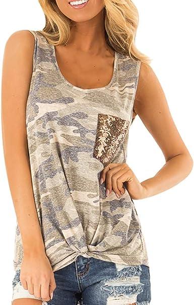DOGZI Camisetas Mujer sin Mangas - Camuflaje de Bolsillo Camiseta Chaleco Tank Verano Casual Tops: Amazon.es: Ropa y accesorios