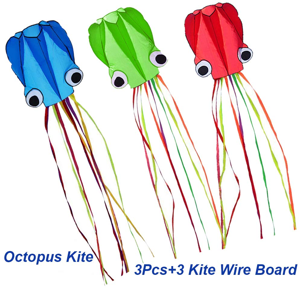 Milky House 3 Pack Octopus Kite, 3D Kite Long Tail Easy Flyer Kites Beach Kites Kids Adults Gift 3 Colors (Blue Green Red) by Milky House