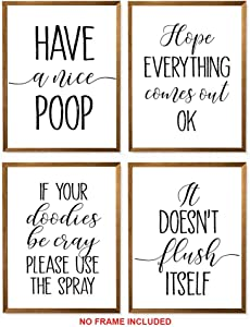 """Have A Nice Poop, Hope Everything Comes Out OK, If Your Doodies Be Cray Please Use The Spray, It Doesn't Flush Itself - Unframed, Bathroom Art, Toilet Wall Art Set Of 4 (Have A Nice Poop, 8"""" x 10"""")"""