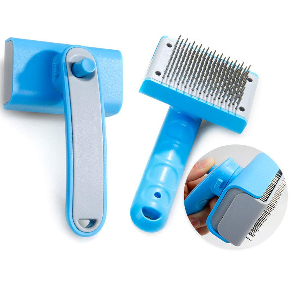 Pet Grooming Brush Comb Self Cleaning Shedding Removal Brush Trimming Massage Kit Tool for Dog Cat The Pet Pushes The Wool Thick Steel Needle Comb with One Key