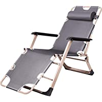 Foldable lounge chair chaise bed, adjustable reclining position with removable pillow for camping, picnic,beach,pool…