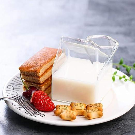 Heaviesk Leche de Vidrio Tazas de Vidrio Cajas de Leche estadounidenses Novedad Leche Café Taza de Jugo Cristalina Contenedor de Desayuno Caja Puede ...