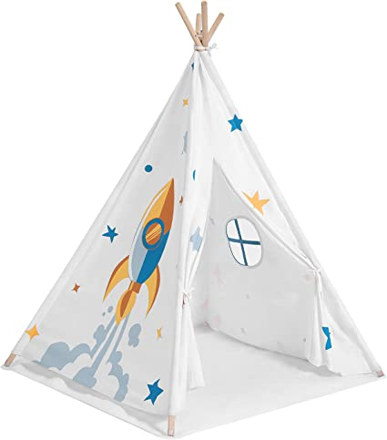 Amazon Com Songmics Kids Teepee Portable Play Tent For Toddlers With Ventilated Window Floor Mat Carry Bag Private Space For Up To 3 Kids 43 3 X 43 3 X 61 Inches White Ultp120w01 Toys Games