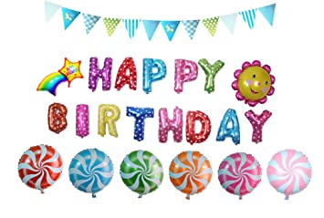 Cute Birthday Balloons Set22 Pieces HAPPY BIRTHDAY Letters And Party Decoration Supplies