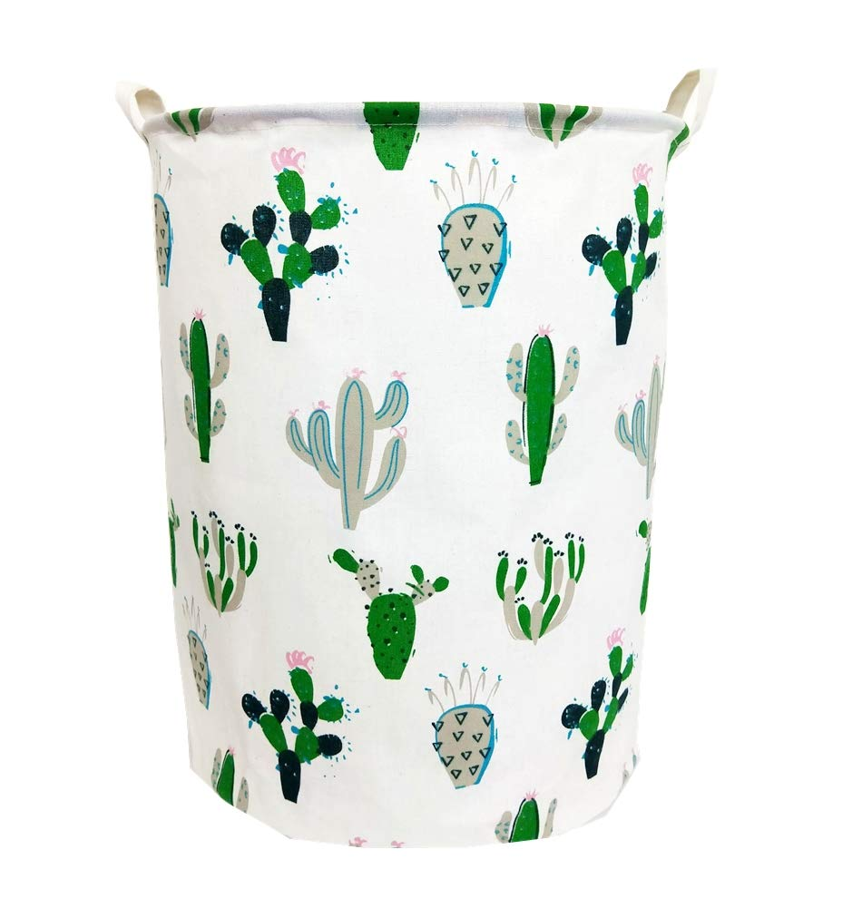 "TIBAOLOVER 19.7"" Large Sized Waterproof Foldable Laundry Hamper Bucket,Bin Storage Organizer for Toy Collection,Canvas Storage Basket with Stylish Cactus Design(Green and Gray)"