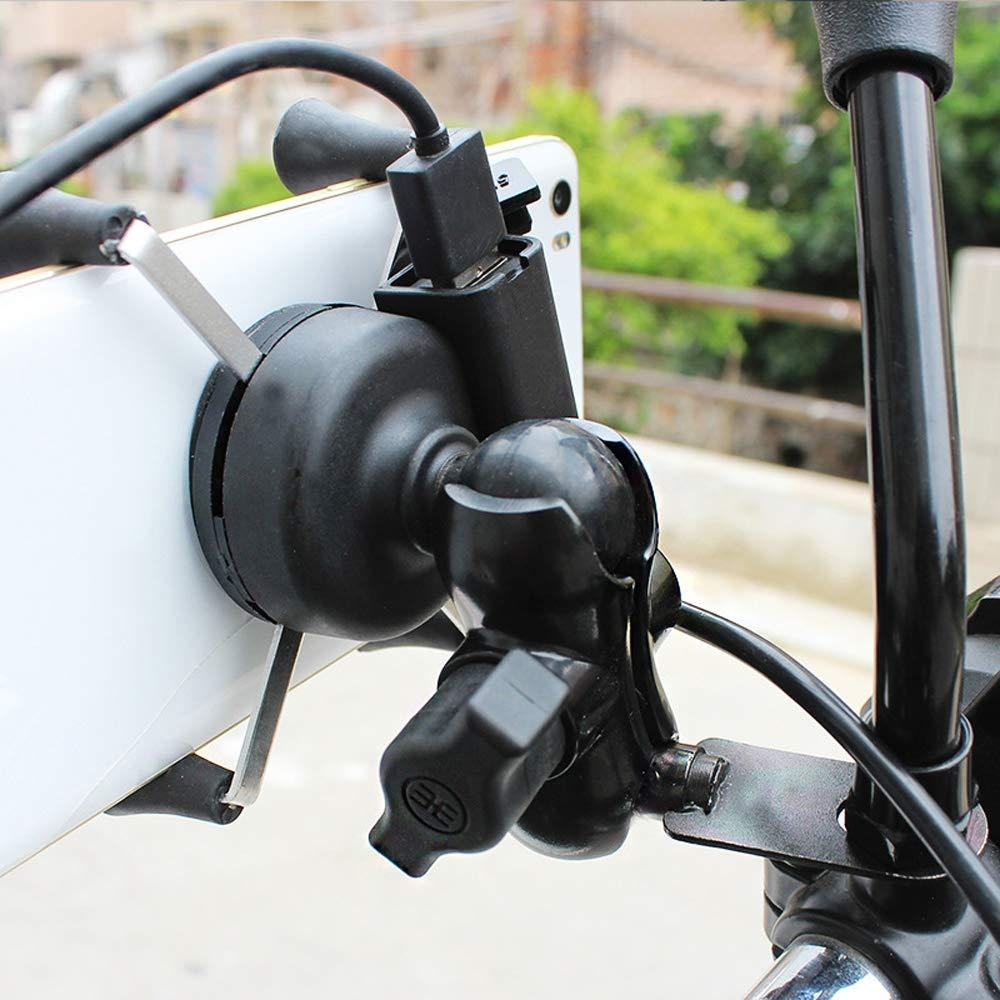 AIJICHE Portacellulare Universale per Moto Rotazione USB // 360 /° // 3,5-6,5 Pollici//per Motociclo Ricaricabile in Lega di Alluminio