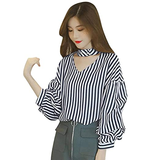 01436f69426af DEATU Ladies Tops, Womens Vertical Striped Sexy V Neck Choker Loose Rivet  Long Sleeve Blouse
