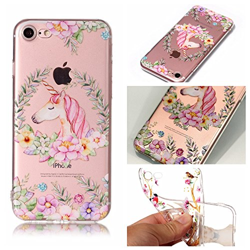iPhone 7 Coque , Leiai Transparent Mode Ultra-mince Clear Farbe Pferd Silicone Doux TPU Housse Gel Etui Case Cover pour Apple iPhone 7