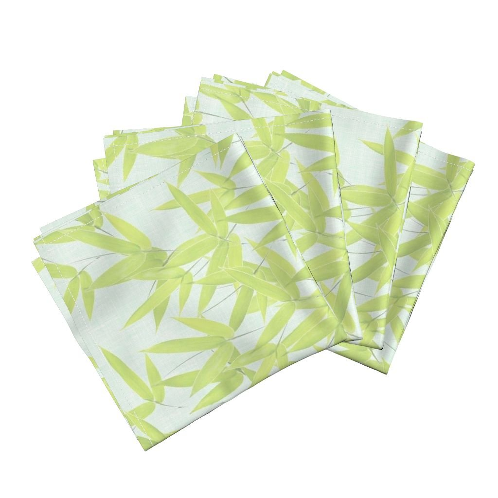 Roostery Spring Bamboo Leaves Foliage Fabric Linen Cotton Dinner Napkins Nantes Bamboo Leaves/Spa by Willowlanetextiles Set of 4 Dinner Napkins