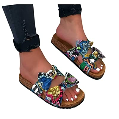 Sandals for Women Flat, Women's 2020 Bow Knot Comfy Platform Sandal Shoes Summer Beach Travel Fashion Slipper Flip Flops at Women's Clothing store