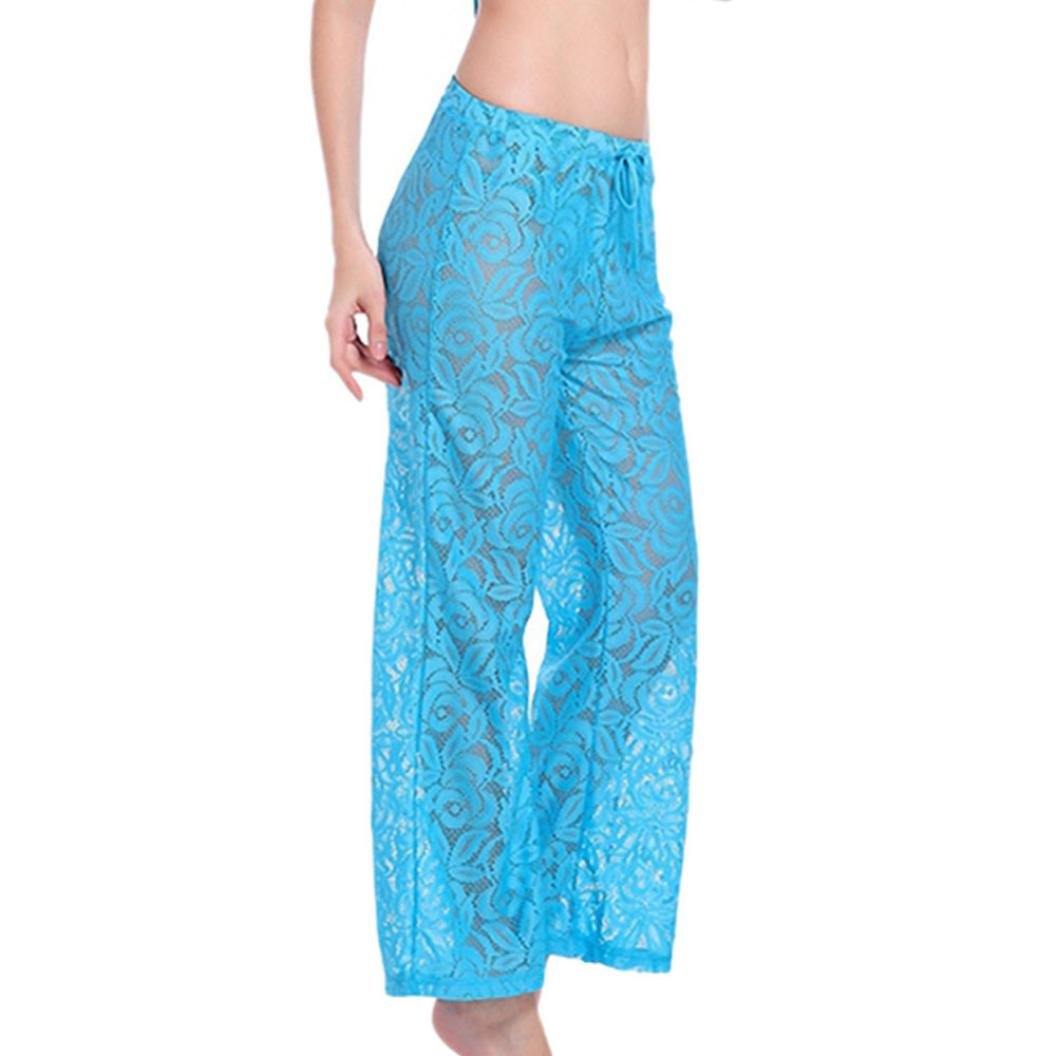 WOCACHI Women Yoga Pants Dance Swimsuit Sexy Lace Beach Loose Cover-Ups Pant Under 5 Spring Blue