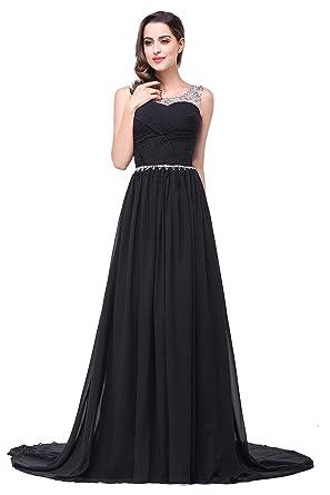 Babyonlinedress Womans Long Prom Dresses Chiffon Beaded Jewel Evening Gowns ,Black,6