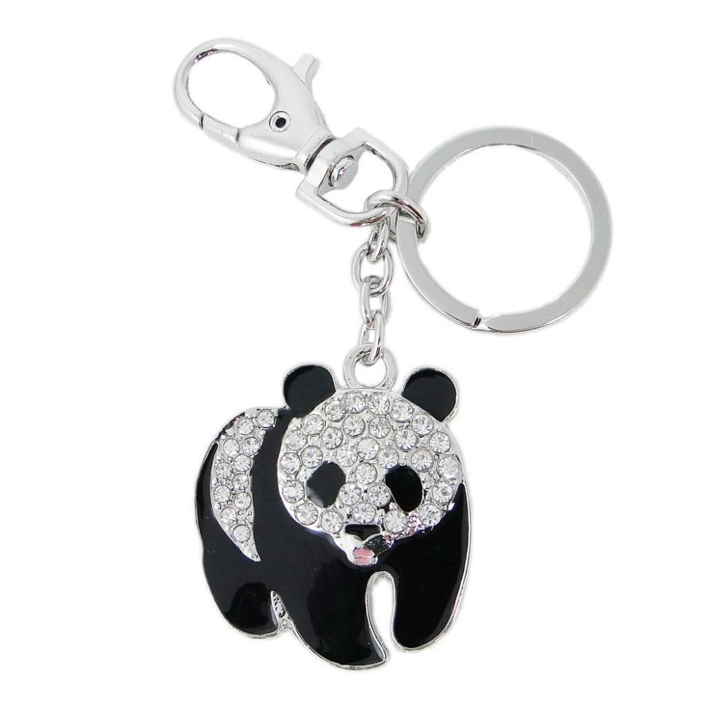 EVER FAITH Women's Austrian Crystal Adorable Plump Panda Animal Keychain Clear Silver-Tone