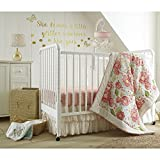 Levtex Baby Charlotte Coral and Cream Floral 5 Piece Crib Bedding Set, Quilt, 100% Cotton Crib Fitted Sheets x 2, 3-tiered Dust Ruffle, and Large Wall Decals