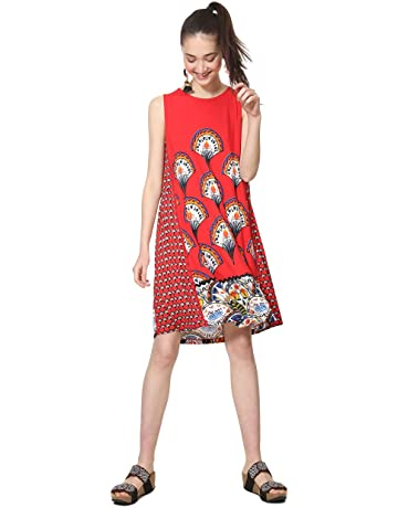 a3858af55d Desigual Dress Sleeveless Vento Woman Red Robe Femme