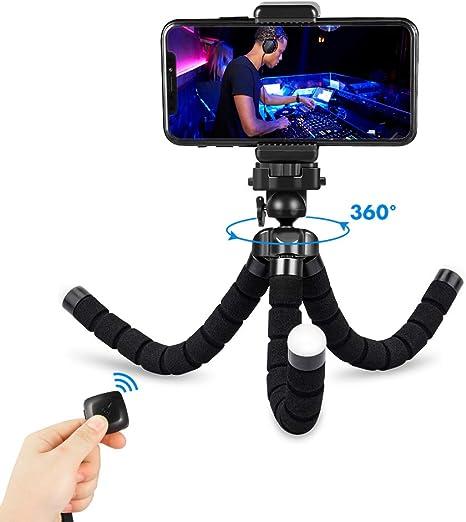 Fotopro Phone Tripode Flexible, 360°Mini Tripode Ligero con Control Remoto Bluetooth, Placa de Liberación Rápida para iPhone, Samsung, Gopro, Huawei: Amazon.es: Electrónica