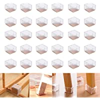 LZYMSZ 32 Pack Chair Leg Wood Floor Protectors,Silicone Floor Protector Table Feet Covers,Square Chair Leg Caps with…
