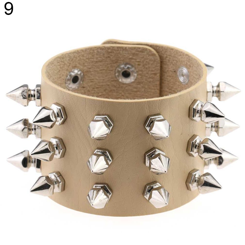 Aland Bracelet,Punk Triple Lines Stainless Steel Pointed Cone Rivet Faux Leather Bangle Bracelet Skin Color