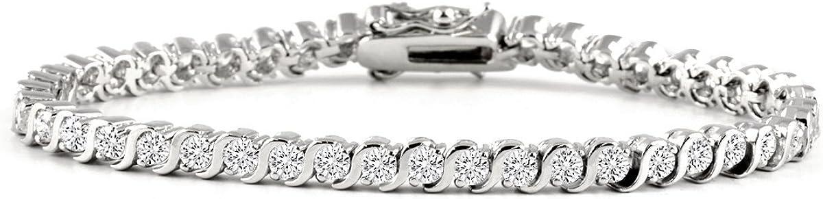 Gem Stone King 5.00 Ct Stunning Round White Cubic Zirconia CZ Tennis Bracelet 7 Inch