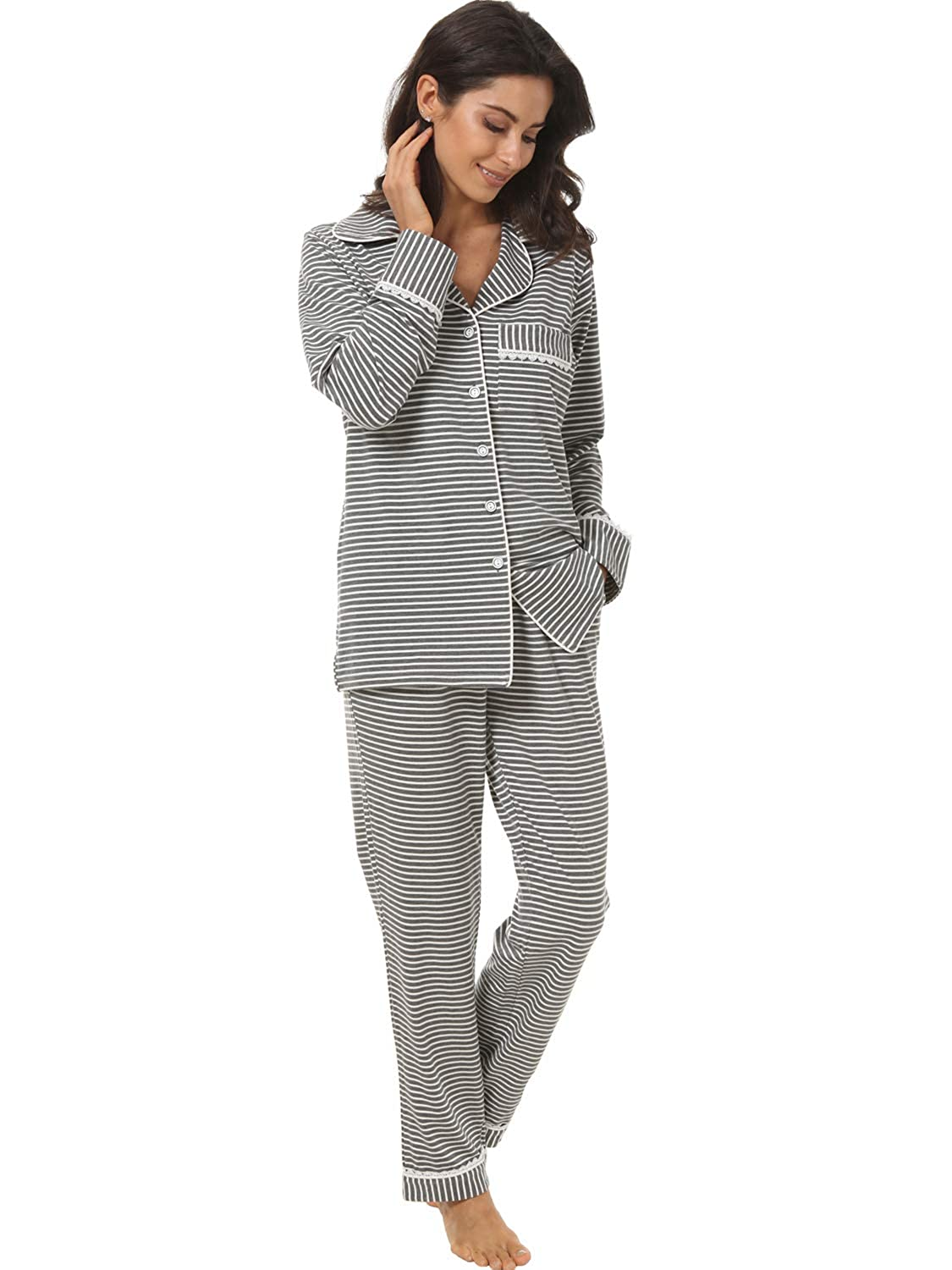Espoir Womens 2 Piece Classic Cotton Long Sleeve Button-Down Soft Pajama Set PJ001