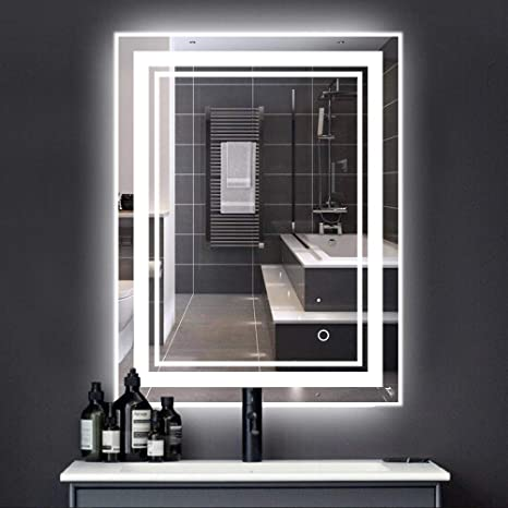 Amazon Com 20x28 Inch Led Backlit Bathroom Vanity Mirror Wall Mounted Dimmable Touch Switch Illuminated Mirror Anti Fog Ip44 Waterproof Make Up Mirror 6000k White Vertical Horizontal Home Improvement