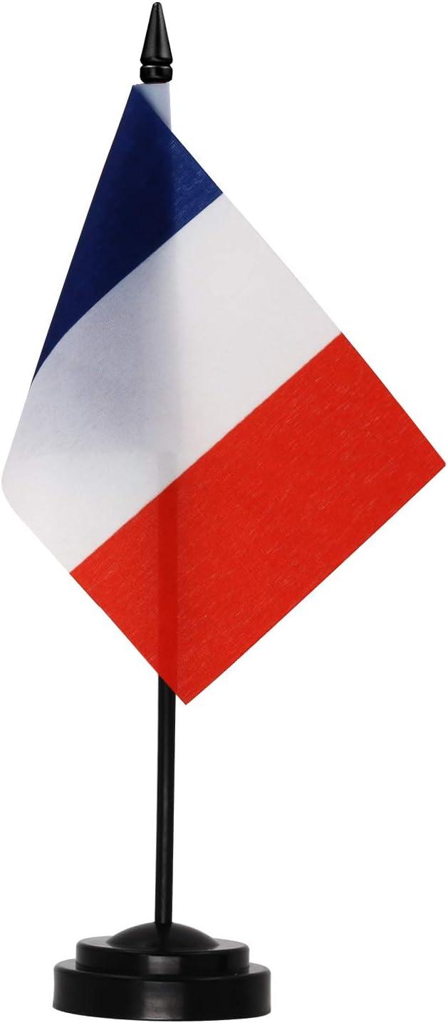 Anley France - Juego de Banderas de Escritorio Bandera de Escritorio Francesa en Miniatura de 6 x 4 Pulgadas con Poste sólido de 12