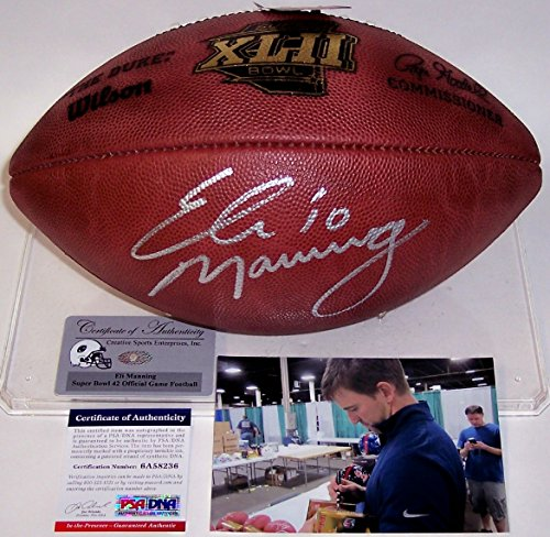 Eli Manning Signed Football (Eli Manning Autographed Hand Signed Super Bowl 42 XLII Official Wilson NFL Leather Football -)