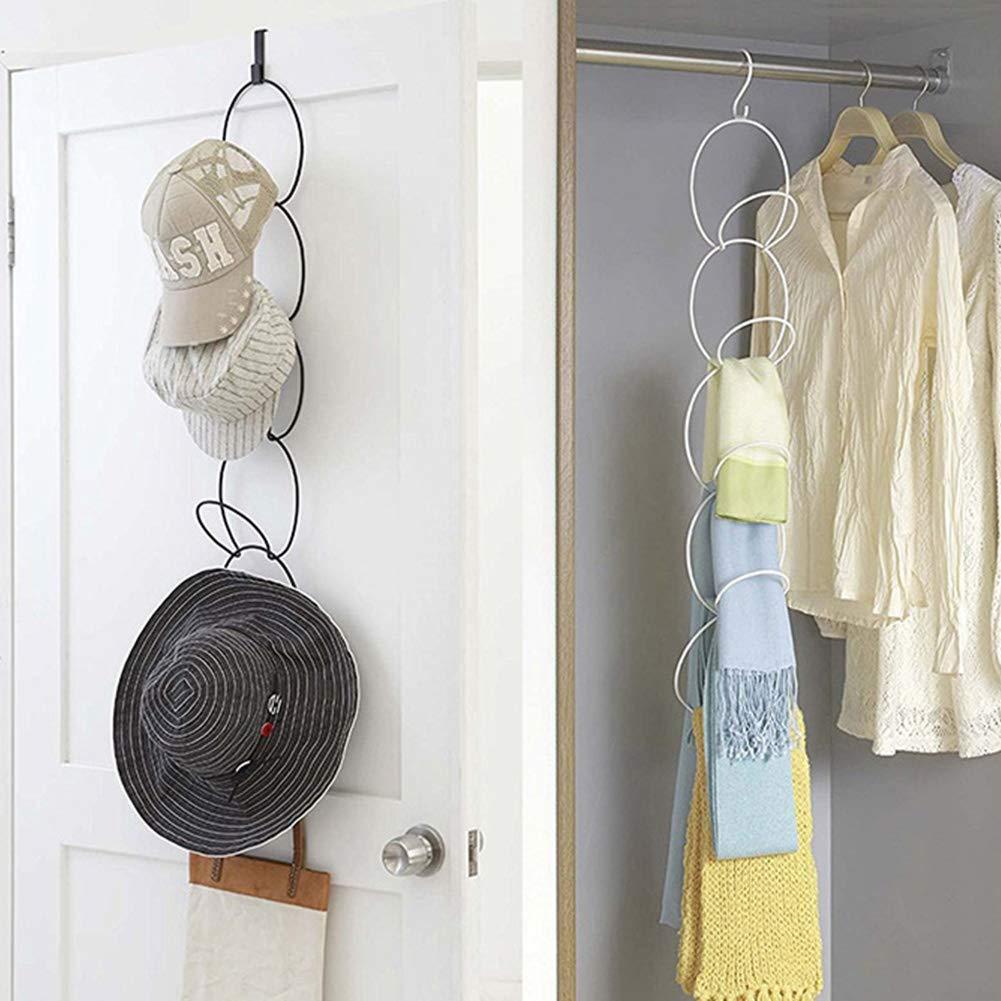 Ganchos para Sombreros o Sombreros de Alambre de Hierro Sobre la Puerta ZAK168 para Colgar en la Puerta Ganchos de Almacenamiento para Colgar Bufandas Negro Tama/ño Libre apilables