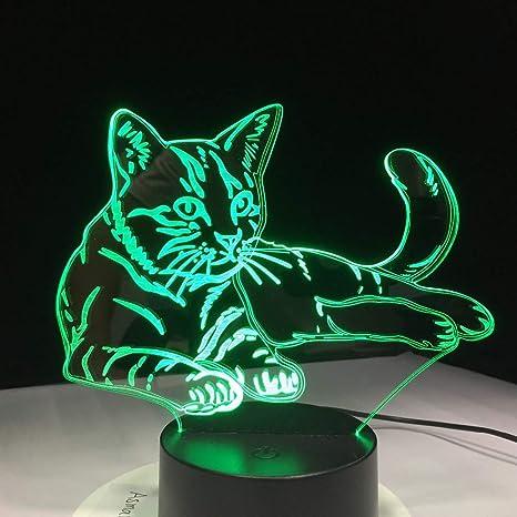 ZBDYD Lámpara 3D Acrílico Led Luz De Noche Sensor Táctil Usb Luz Niños Lámpara De Noche