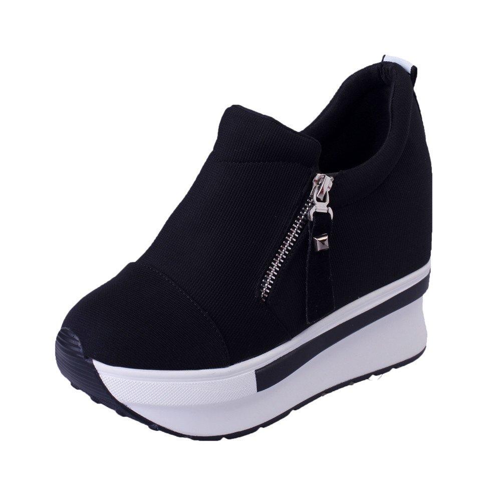 Dasuy Women's Hidden Wedge Ankle Boots Women High Heel Suede Sneakers Platform Thick Bottom Walking Shoes Size 5-7 (US:5.5(36), Black(Side Zipper)) by Dasuy