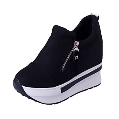bad0b62565d Women Wedges Boots Platform Shoes Zip Slip on Ankle Boots Fashion Casual  Sneaker (Black