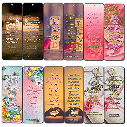 (Creanoso Romantic Love Quotes Literary Bookmarker Cards (60-Pack) - Premium Quality Book Reading Bookmarks Design - Premium Gift for Men Women Adult, Bookworm - Awesome)