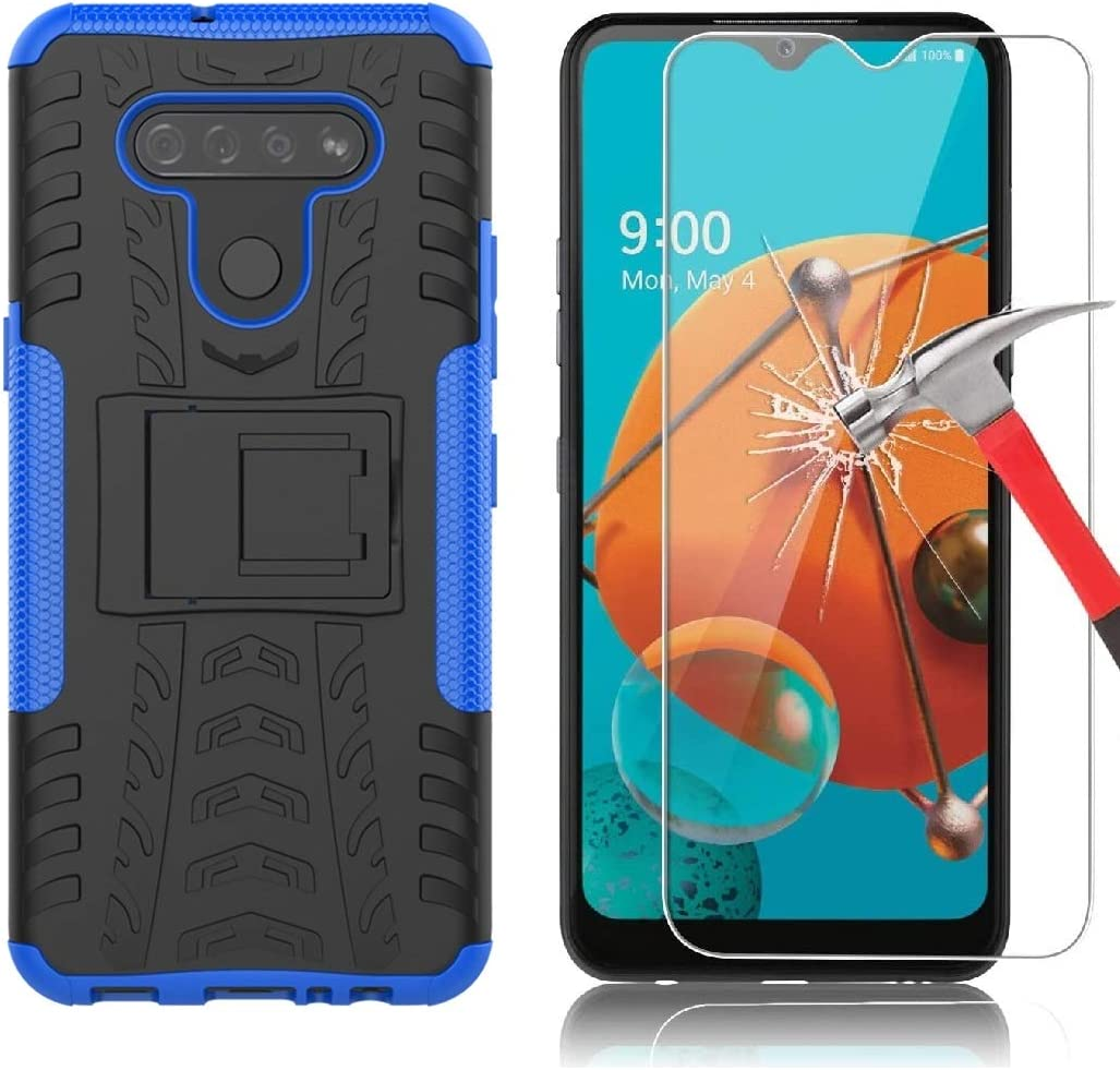Yiakeng Compatible for LG K51 Case with Screen Protector, Shockproof Silicone Protective with Kickstand Hard Phone Cover for LG K51 (Blue)