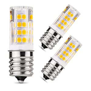 E17 LED Bulb, E17 LED Microwave Oven Bulb 5 Watt (40W Incandescent Bulbs Equivalent), AC 110V-120V Warm White 3000K for Microwave Oven, Appliance Bulbs, Stovetop Light, Non-Dimmable (3 Pack)