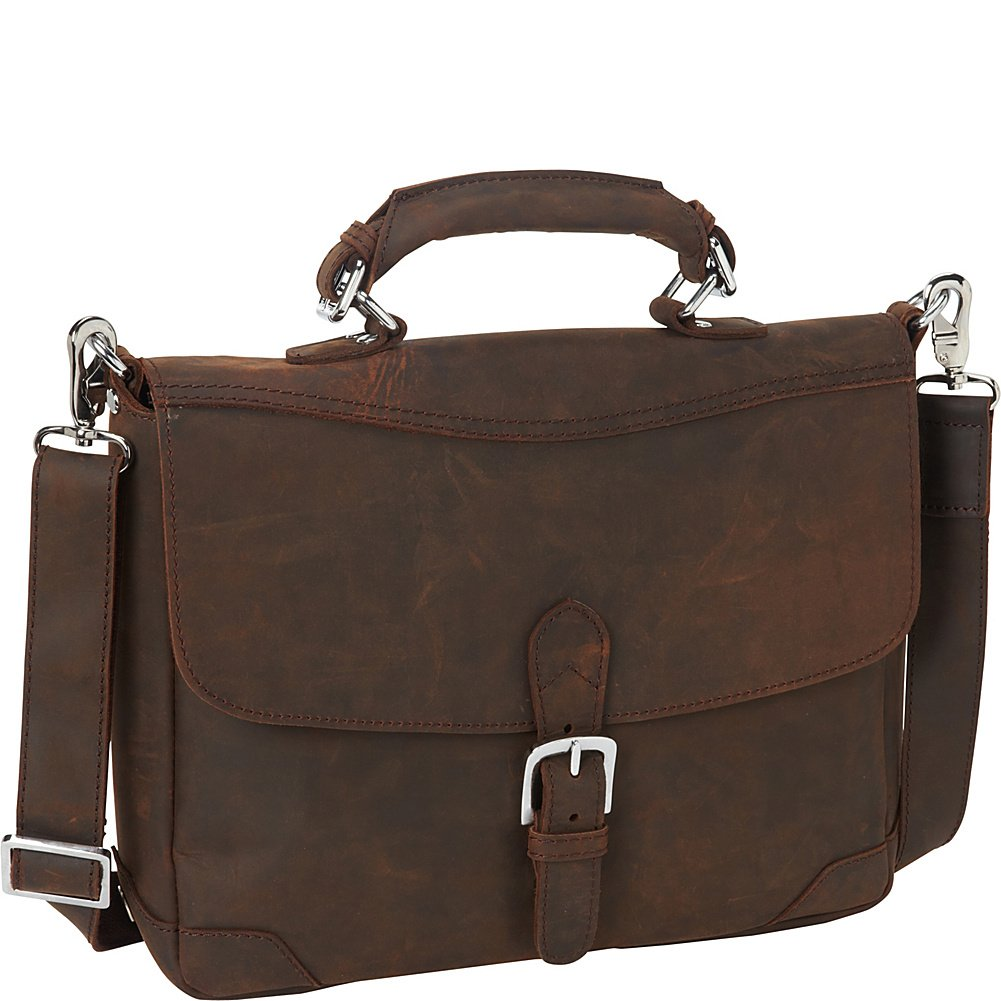 Vagabond Traveler 15'' Cowhide Fine Leather Messenger Bag with Clasp Lock