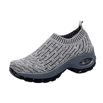 879b53583825c Amazon.com: Wulofs Women Ladies Mesh Breathable Wedges Sneaker ...
