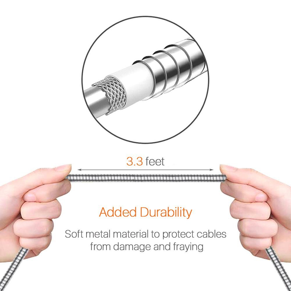 Wide Compatibility with Android Windows and other Devices Bending /& Weather Resistant Almost Unbreakable ZECEEN Metal Micro USB Cable 3.3 ft Fast Charging /& Data Transfer Cord
