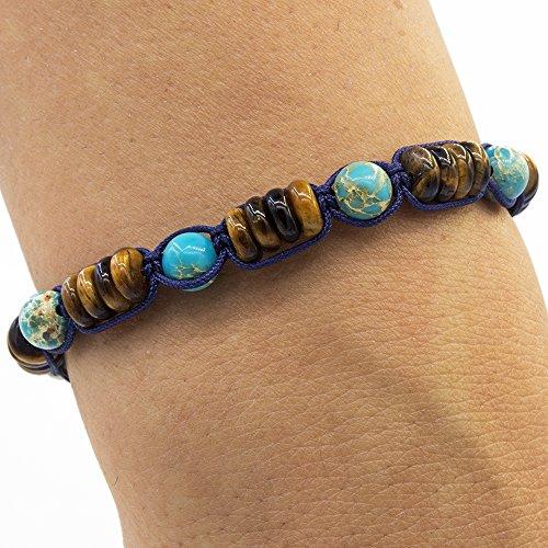 Homme Eye - Shamballa Bracelet, Bracelets Homme, Tiger's Eye, Turquoise Variscite Crystals, Unisex, Adjustable Size, Boho Style, Hematite Jewelry, Gemstone