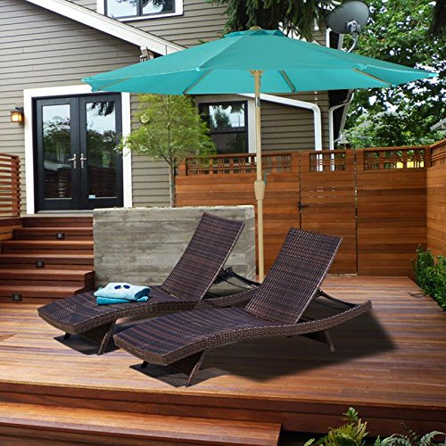 Woven Chaise Lounger - Oakville Outdoor Patio Rattan Wicker Adjustable Pool Chaise Lounge Chair – Set of 2